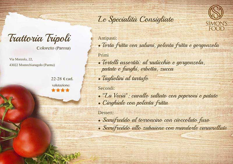 Trattoria Tripoli - menù