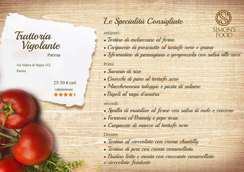 Trattoria di Vigolante - menu