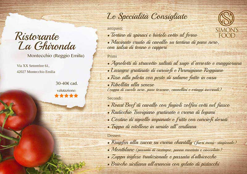 Ristorante La Ghironda - menù