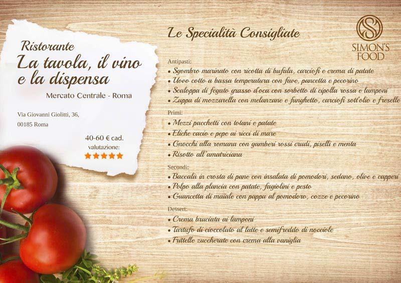 Ristorante La Tavola, Il Vino e La Dispensa - menù
