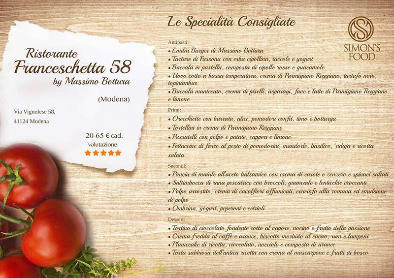 Franceschetta 58 menu
