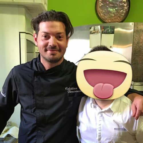 Simon con lo chef Cristian Benvenuto