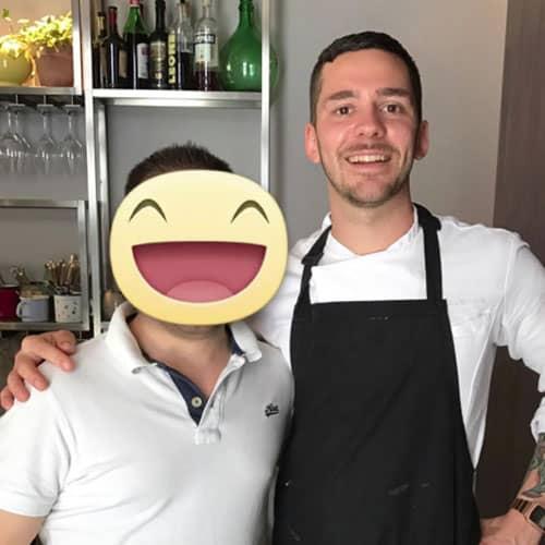 Simon con lo chef Bernardo Paladini chef deòòa Franceschetta 58 di Massimo Bottura