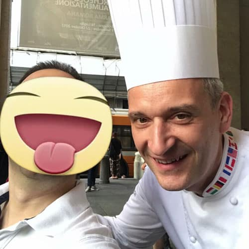 Simon con il pasticcere Luigi Biasetto