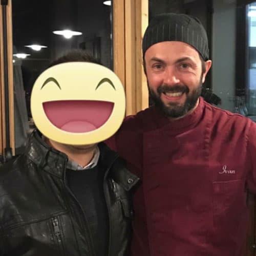 Simon con lo chef Ivan Lampredi