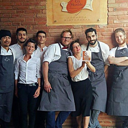 Una parte dello staff del ristorante stellato Ca' Matilde