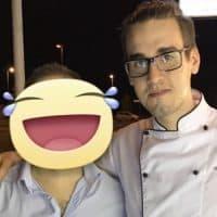 Simon con lo chef Ivan Palombi
