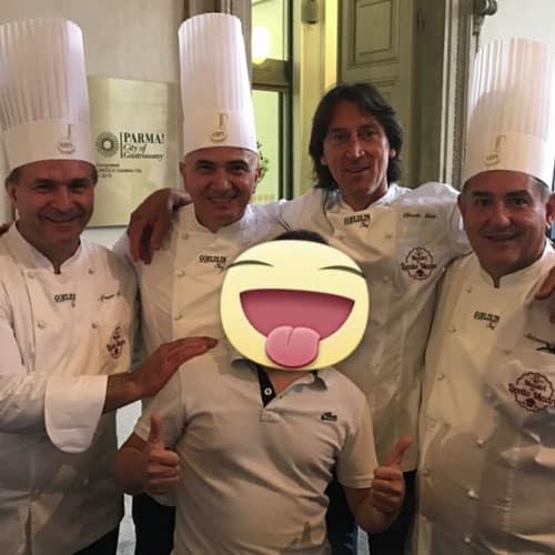 Simon con i pasticceri: Alfonso pepe, Claudio Gatti, Salvatore Gabbiano e Salvatore de Riso