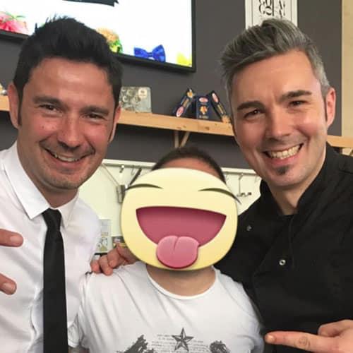 Simon con Tinto e Lo chef Riccardo Facchini della Prova del cuoco su RAI1