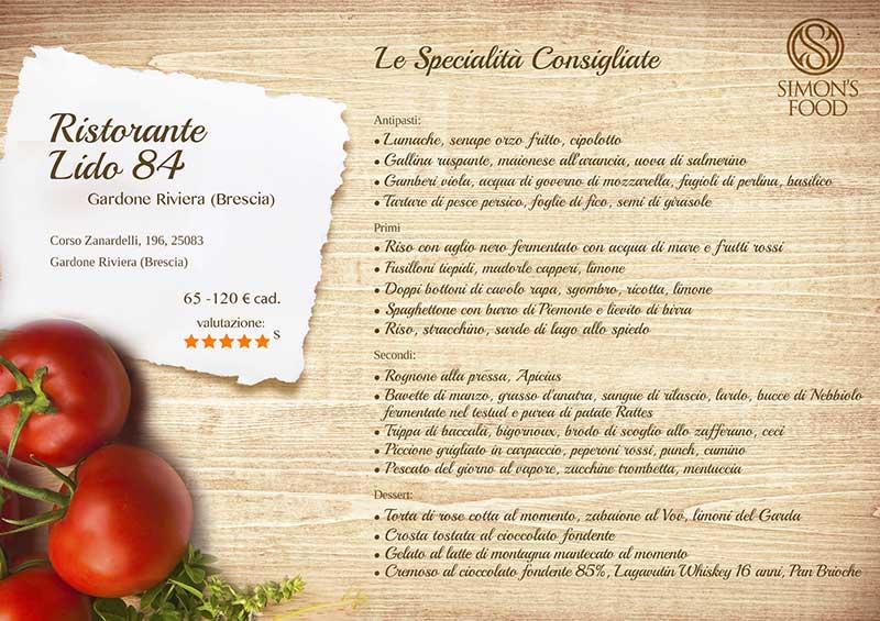 Ristorante Lido84 - menu