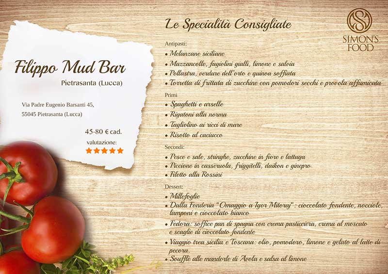 Filippo Mud bar - menu