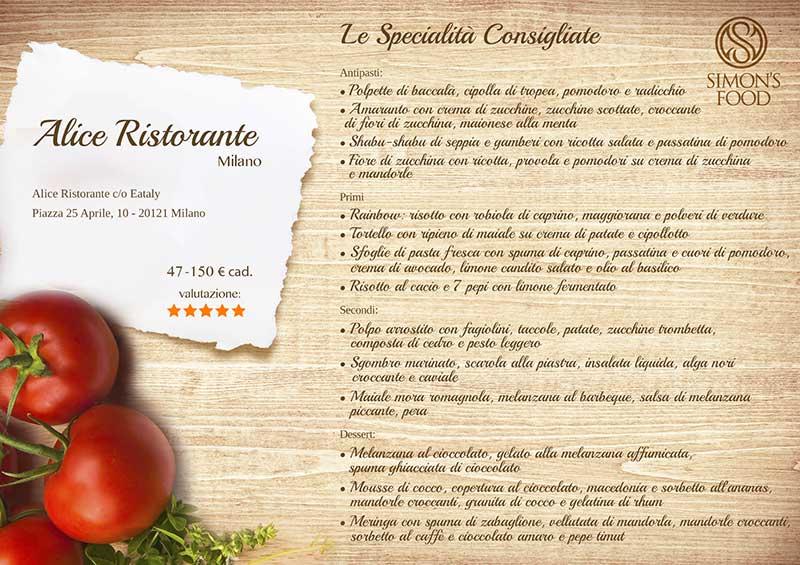 Alice Ristorante menu