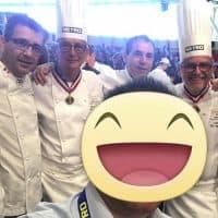 Gli chef dell'alta cucina francese di Paul Bocuse, da sinistra Pierre Franck Salamon, Philippe Labbe, Joseph Viola