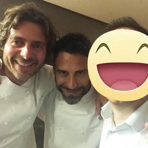 Con lo chef Giuliano Baldessari del ristorante Aqua Crua (1 stella milchelin) nonchè giudice del reality TOPCHEF ITALIA, e allo chef e neurogastronomo Palmiro Carlini, concorrente di TOPCHEF 2017