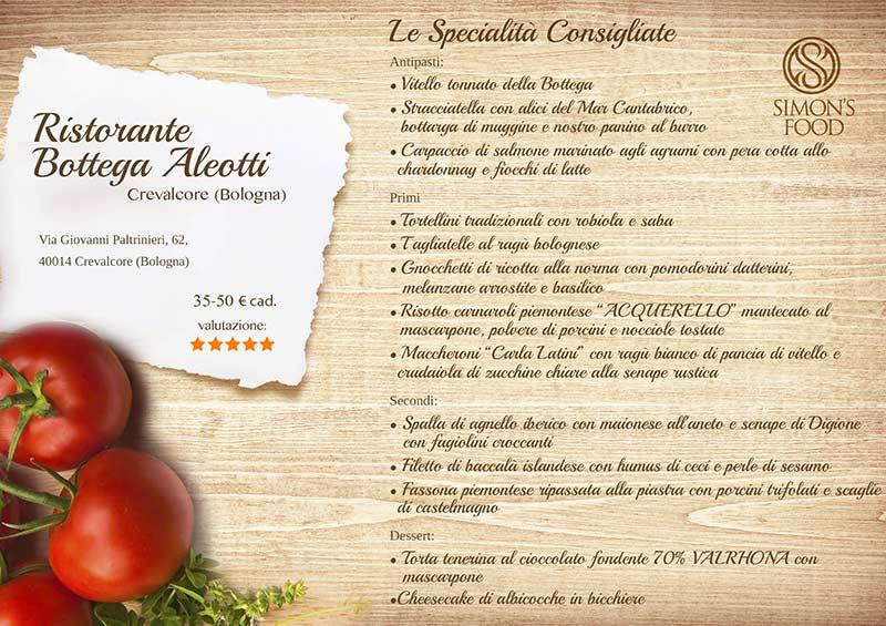 Aleotti menu - Bottega Aleotti