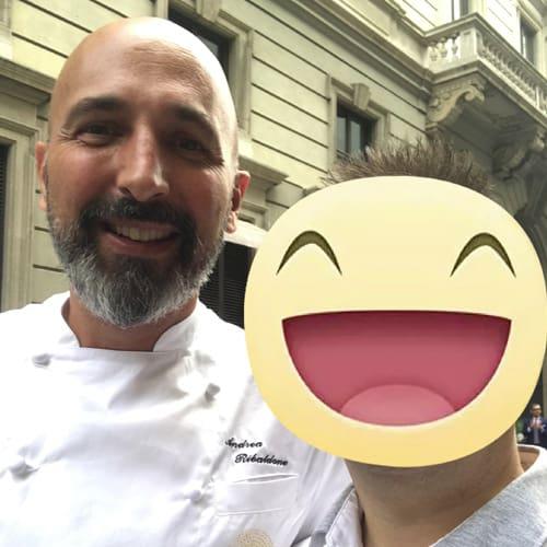 Con lo chef stellato Andrea Ribaldone dell'osteria Arborina