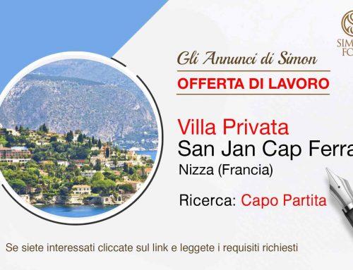 Cercasi Capo Patita per Villa Privata a Nizza (Francia)