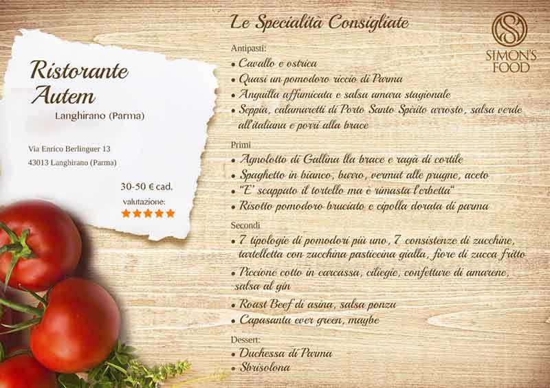 Ristorante Autem - Autem menu