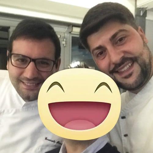 Con gli Chef Emanuele Petrosino - Ristorante I Portici* Bologna e Giuseppe Tarantino - Ristorante Corbezzoli Bologna